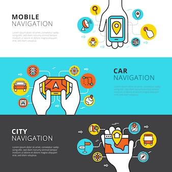 Conjunto de bandeiras horizontais planas de carro móvel e navegação da cidade