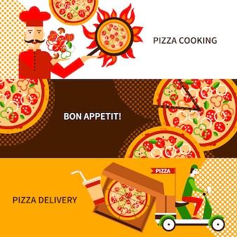 Conjunto de bandeiras horizontais planas de entrega de pizza