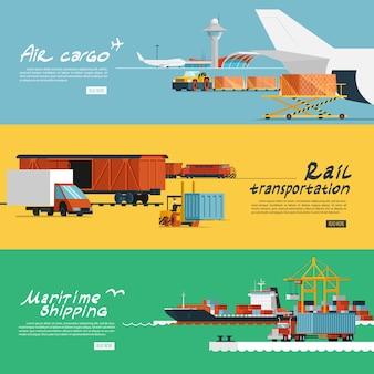 Conjunto de bandeiras horizontais planas de logística
