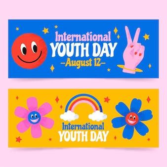 Conjunto de bandeiras internacionais desenhadas à mão para o dia da juventude