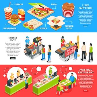 Conjunto de bandeiras isométrica de fast-food