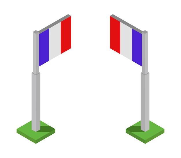 Conjunto de bandeiras isométrica de frança