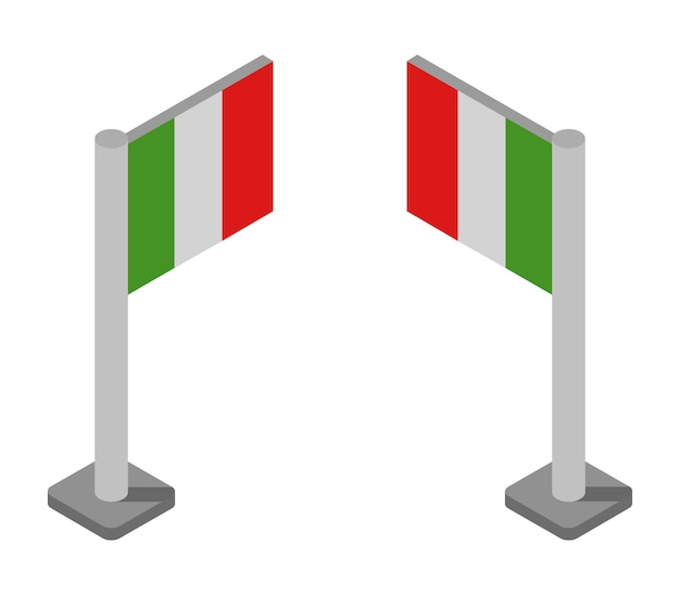 Conjunto de bandeiras isométrica itália