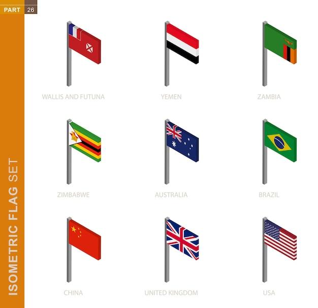 Conjunto de bandeiras isométricas isolado no branco
