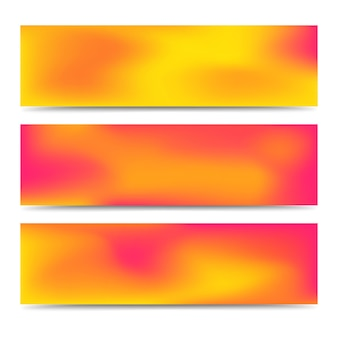 Conjunto de bandeiras laranja gradiente turva abstrato suave. plano de fundo multicolorido criativo abstrato. ilustração vetorial