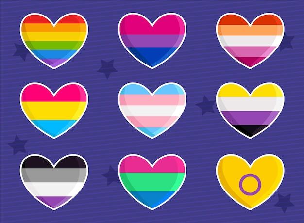 Conjunto de bandeiras lgbtq em formato de coração adorável