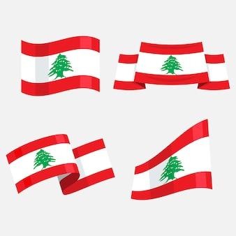 Conjunto de bandeiras libanesas de design plano