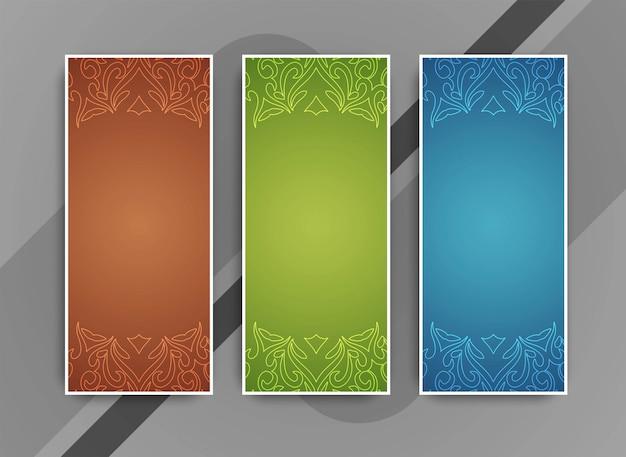 Conjunto de bandeiras lindas coloridas abstratas