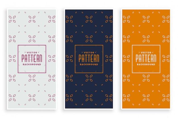 Conjunto de bandeiras lindas elegantes padrão floral