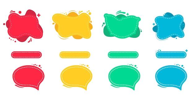 Conjunto de bandeiras líquidas coloridas abstratas.