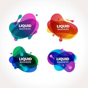 Conjunto de bandeiras líquido gradiente