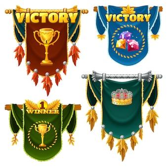 Conjunto de bandeiras medievais.