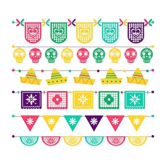 Conjunto de bandeiras mexicanas coloridas