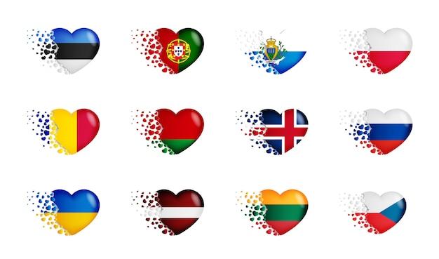 Conjunto de bandeiras nacionais com voar pequenas corações