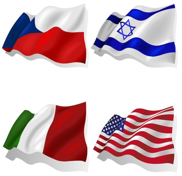 Conjunto de bandeiras onduladas