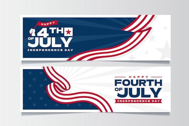 Conjunto de bandeiras orgânicas planas do dia da independência de 4 de julho