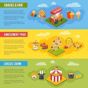 Conjunto de bandeiras plana de conceito de circo de carnaval