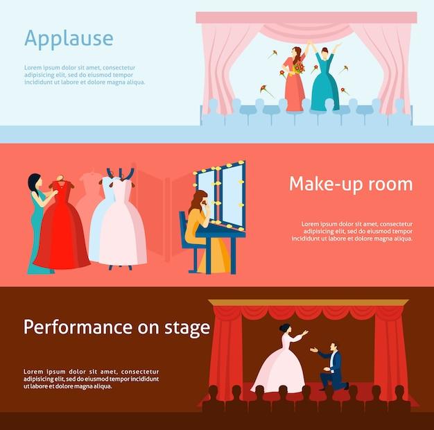 Conjunto de bandeiras plana de desempenho de teatro