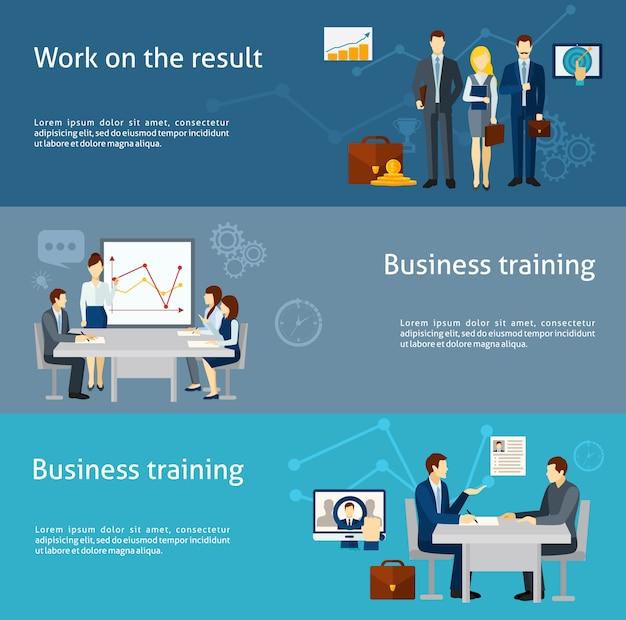 Conjunto de bandeiras plana de investimento de negócios coaching