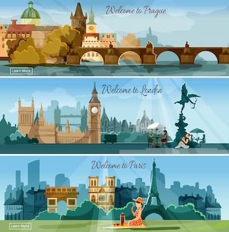 Conjunto de bandeiras planas de cidades turísticas populares