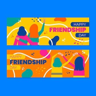 Conjunto de bandeiras planas de dia da amizade