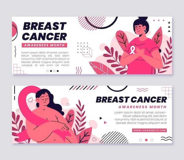 Conjunto de bandeiras planas desenhadas à mão para o mês de conscientização do câncer de mama