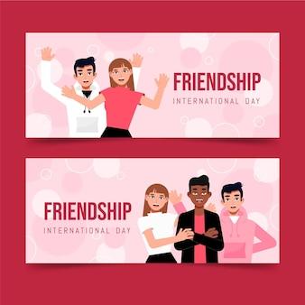 Conjunto de bandeiras planas do dia da amizade internacional