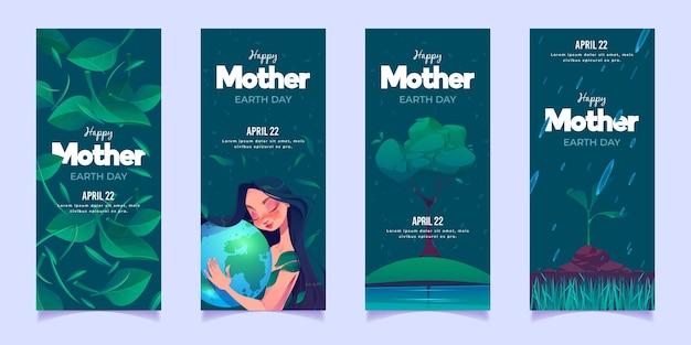 Conjunto de bandeiras planas do dia da mãe terra