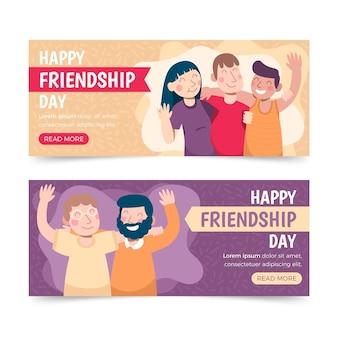 Conjunto de bandeiras planas orgânicas do dia da amizade internacional
