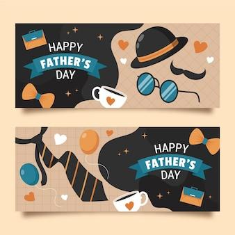 Conjunto de bandeiras planas orgânicas do dia dos pais