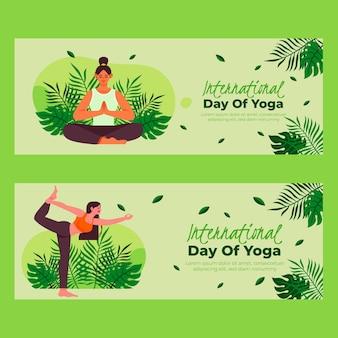 Conjunto de bandeiras planas orgânicas do dia internacional de ioga