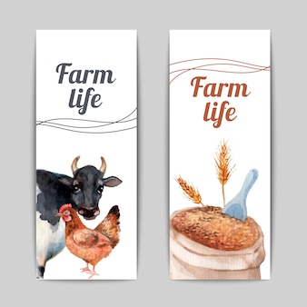 Conjunto de bandeiras planas verticais de vida de fazenda