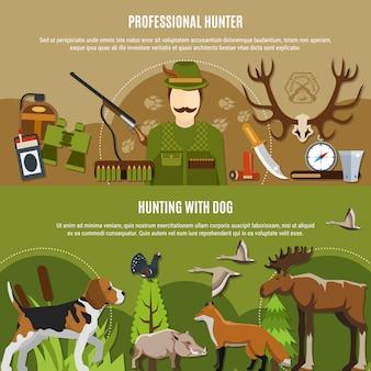 Conjunto de bandeiras profissionais caçador