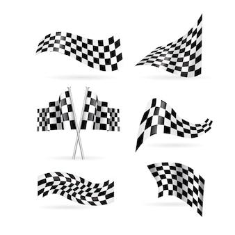 Conjunto de bandeiras quadriculada.