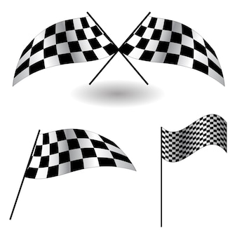 Conjunto de bandeiras quadriculadas. ilustração vetorial. eps 10.