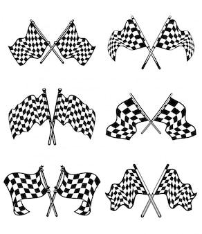 Conjunto de bandeiras quadriculadas