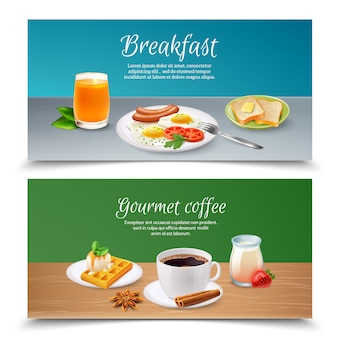 Conjunto de bandeiras realistas de café da manhã