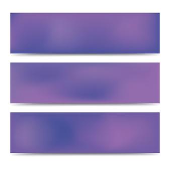 Conjunto de bandeiras roxas gradiente turva abstrato suave. plano de fundo multicolorido criativo abstrato. ilustração vetorial