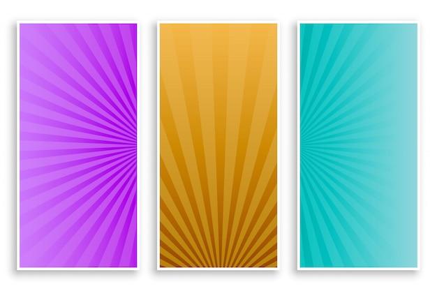 Conjunto de bandeiras vazias de raios de sol