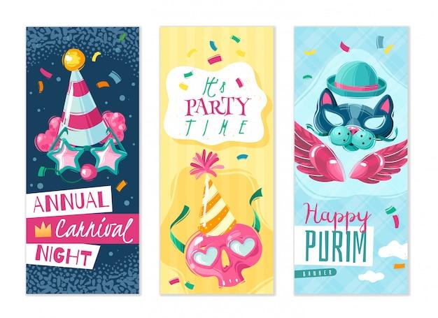 Conjunto de bandeiras verticais de coisas de carnaval. conjunto de três banners verticais sobre o tema do carnaval com sombras no fundo branco com máscaras de disfarce e atributos de férias