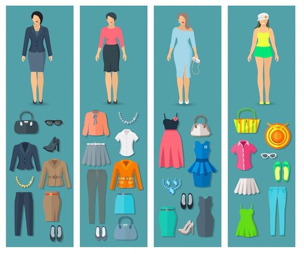 Conjunto de bandeiras verticais de elementos de roupas de mulher na praia coquetel de negócios e moda casual vector a ilustração de estilos