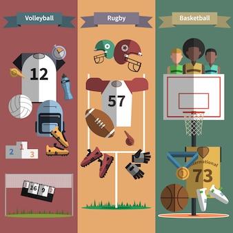 Conjunto de bandeiras verticais de esporte de equipe