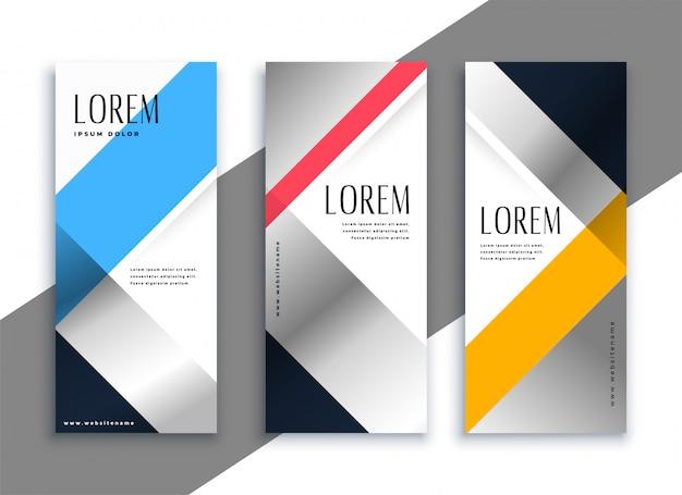 Conjunto de bandeiras verticais de negócios geométrica