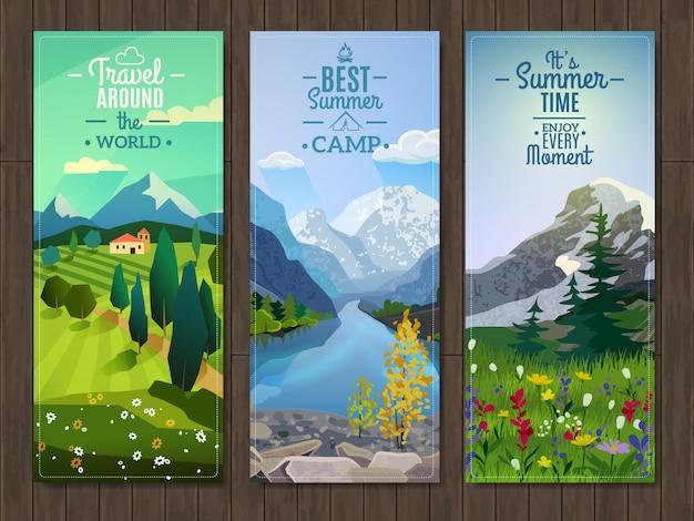Conjunto de bandeiras verticais de paisagem de verão