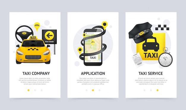 Conjunto de bandeiras verticais de táxi