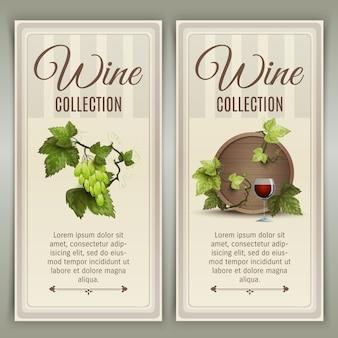Conjunto de bandeiras verticais de vinho