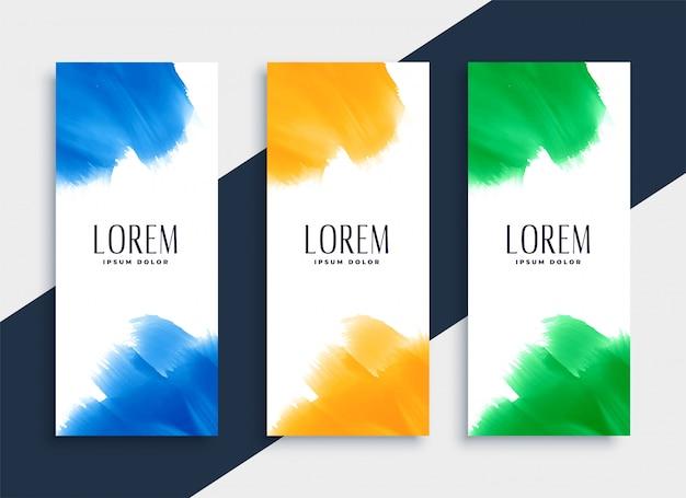 Conjunto de bandeiras verticais em aquarela abstratas em três cores