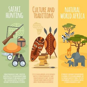 Conjunto de bandeiras verticais plana de cultura africana