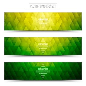 Conjunto de bandeiras web gráfico verde