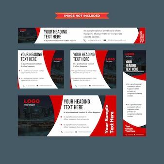 Conjunto de bandejas abstratas vermelho e whie profissional da web
